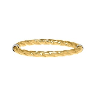 Round Twist Bangle Bracelet in 14K Gold-Bonded Sterling Silver - Two-tone