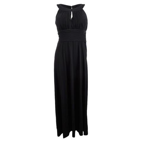 Sangria Women's Sleeveless Keyhole Gown (8, Black) - Black - 8