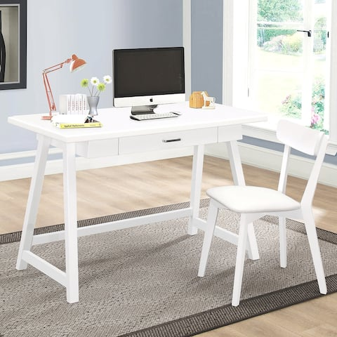 Mid-Century Modern Design White Home Office Desk and Chair Set