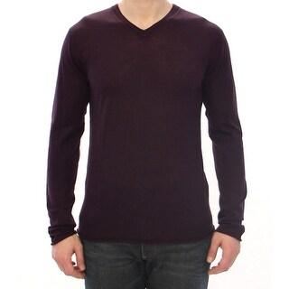 Dolce & Gabbana Dolce & Gabbana Purple Virgin Wool Logo V-neck Sweater