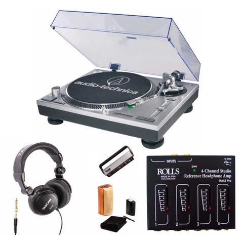Audio Technica AT-LP120-USB Turntable with Headphone Amplifier Bundle