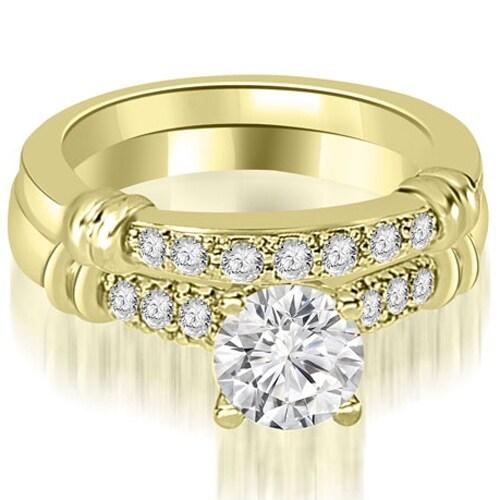0.83 cttw. 14K Yellow Gold Round Cut Diamond Engagement Set - White H-I