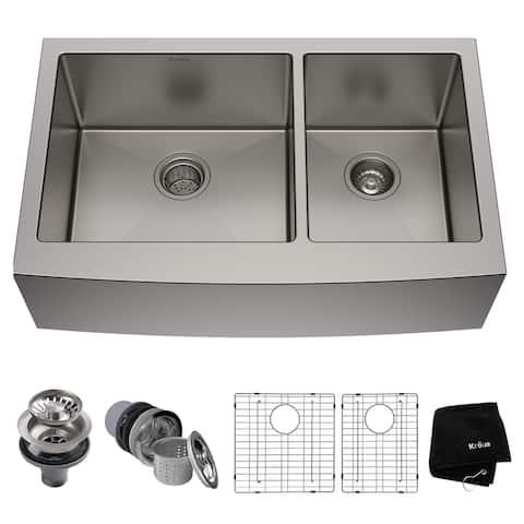 KRAUS Standart PRO Stainless Steel 33 in 2-Bowl Farmhouse Kitchen Sink