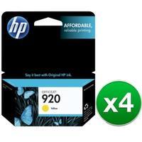 HP 920 Yellow Original Ink Cartridge (CH636AN)(4-Pack)