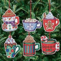 """3.5""""X3.5"""" 14 Count Set Of 6 - Cocoa Mug Ornaments Counted Cross Stitch Kit"""