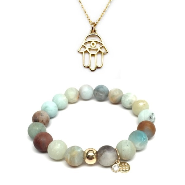Green Amazonite Bracelet & Protection Hand Gold Charm Necklace Set
