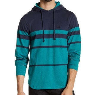 Billabong NEW Blue Mens Size XL Hooded Striped Drawstring Sweater