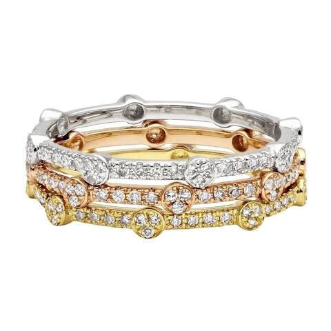 14k Gold 1/6ct TDW Stackable Diamond Eternity Band Ring by Beverly Hills Charm