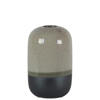 Cylindrical Stoneware Vase With Black Banded Rim Bottom, Small, Glossy Gray