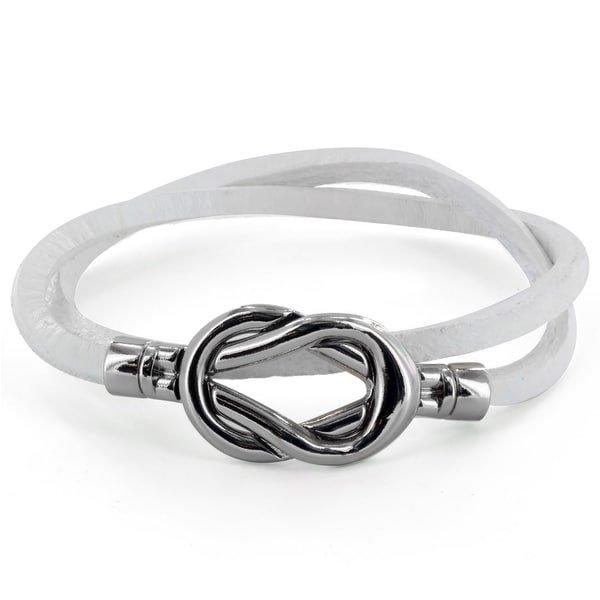 Steel Knot Double Wrap Leather Bracelet (White) (4 mm) - 8 in