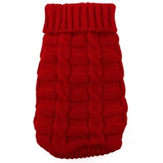 Pet Cat Woolen Knitted Winter Warm Sweater Coat Clothes Apparel Costume Red M