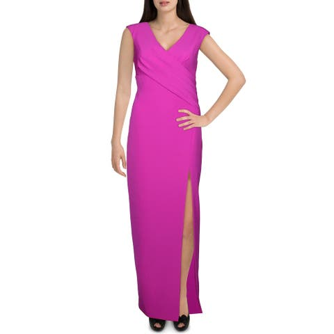 Aidan Mattox Womens Evening Dress Double V Neck Side Slit - Dark Magenta