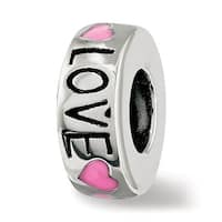 Sterling Silver Reflections Pink Enameled Hearts Love Amour Spacer Bead (4.5mm Diameter Hole)