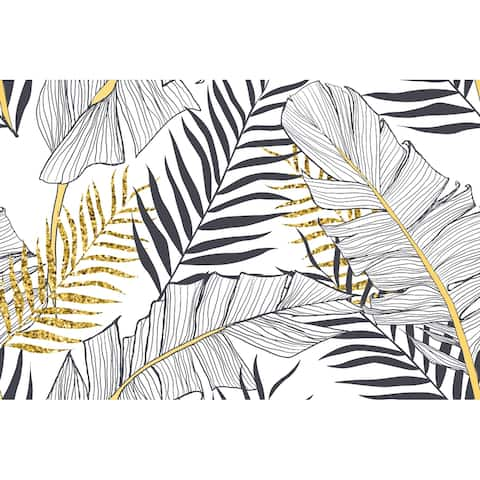Seamless Banana Palm Leaves, Removable Wallpaper - 10'ft H x 24''inch W