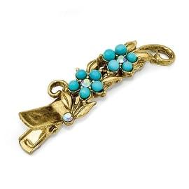 Goldtone Blue Crystal & Acrylic Turquoise Hair Clip