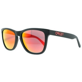 OAKLEY Wayfarer Frogskins LX Men's OO2043-02 Matte Black Red Iridium Sunglasses - 56mm-17mm-140mm