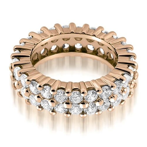 3.50 cttw. 14K Rose Gold Two Row Round Cut Diamond Eternity Band Ring