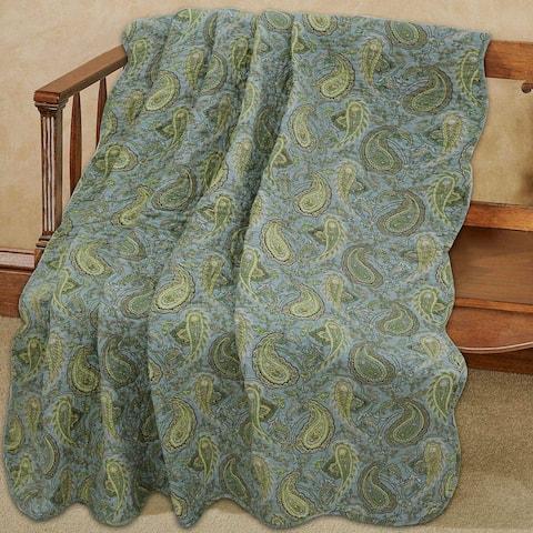 Cozy Line Rosales Paisley Reversible Cotton Throw Blanket