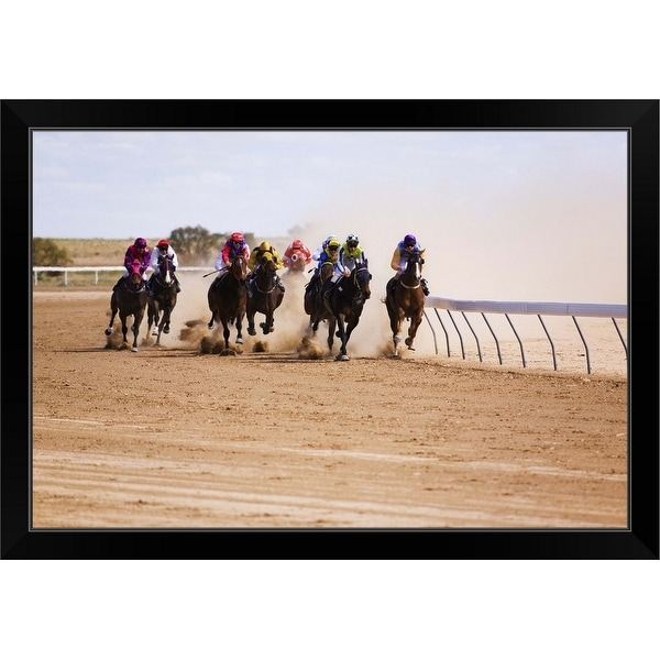 """Bush horse racing in the outback at the Birdsville Cup Races in September"" Black Framed Print"
