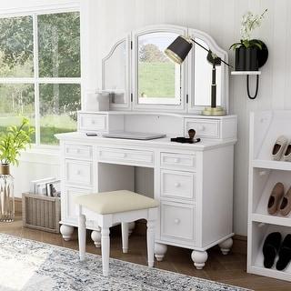 Furniture of America Boke Transitional Solid Wood 3-piece Vanity Set