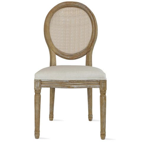 Designer Button Oval Fabric Wood Side Dining Chair