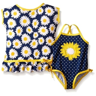 Wippette Baby Girls' Sunflower Swimsuit and Cover Up Set Gold 6-9 Months
