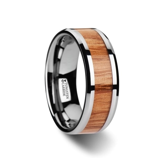 VERMILLION Red Oak Wood Inlaid Tungsten Carbide Ring with Bevels