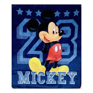 "Baby Boys Blue Mickey Mouse Print Soft Royal Plush Blanket 40"" x 50"" - One Size"