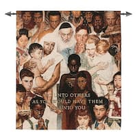 """Norman Rockwell The Golden Rule Inspirational Wall Hanging Tapestry 43"""" x 38"""" - brown"""