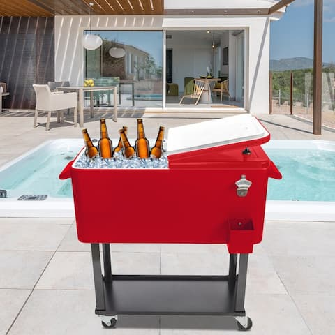 80 Qt Iron Cooler Cart Red & Black - 80 Qt