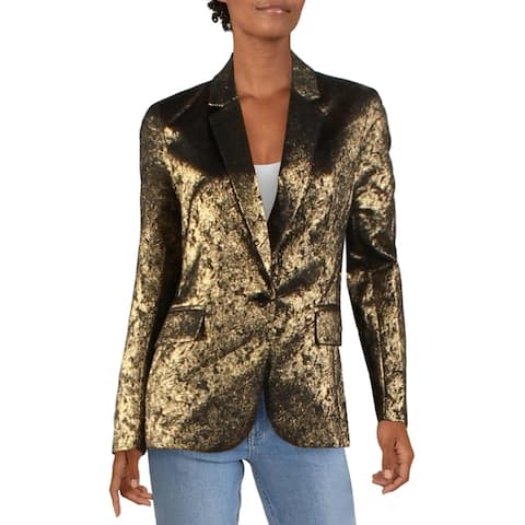 Aqua Womens Blazer Metallic Evening - Black/Navy/Gold