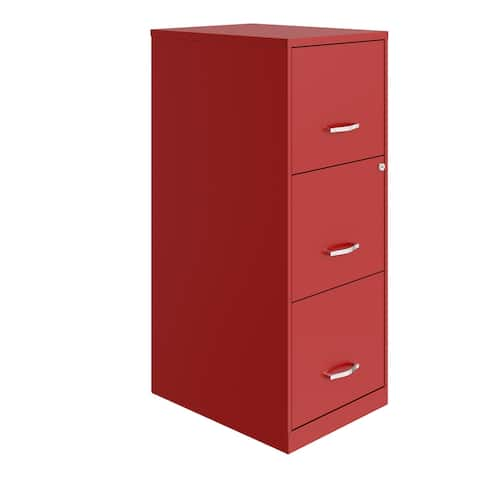 Space Solutions 3 Drawer Vertical File Cabinet with Lock, Lava Red