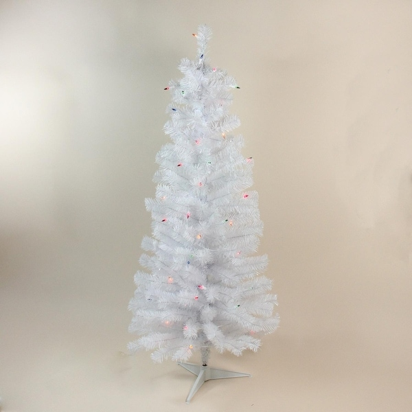 """4' x 24"""" Pre-Lit White Artificial Christmas Tree with Multi-Colored Lights"""