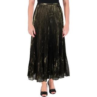 Lauren Ralph Lauren Womens Metallic Fan Pleat Flare Skirt