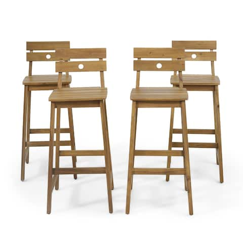 """Ashlyn Outdoor/Indoor Acacia Wood Backed Barstools (Set of 4) by Christopher Knight Home - 17.00"""" L x 20.25"""" W x 40.50"""" H"""