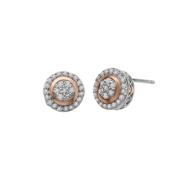 3/8 ct Diamond Stud Earrings in Sterling Silver & 14K Rose Gold