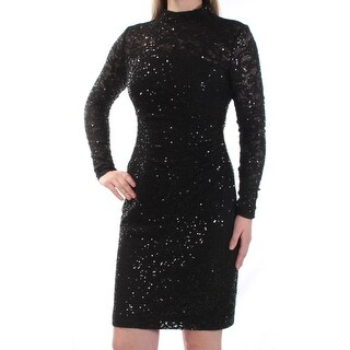 Womens Black Long Sleeve Above The Knee Body Con Cocktail Dress Size: 4
