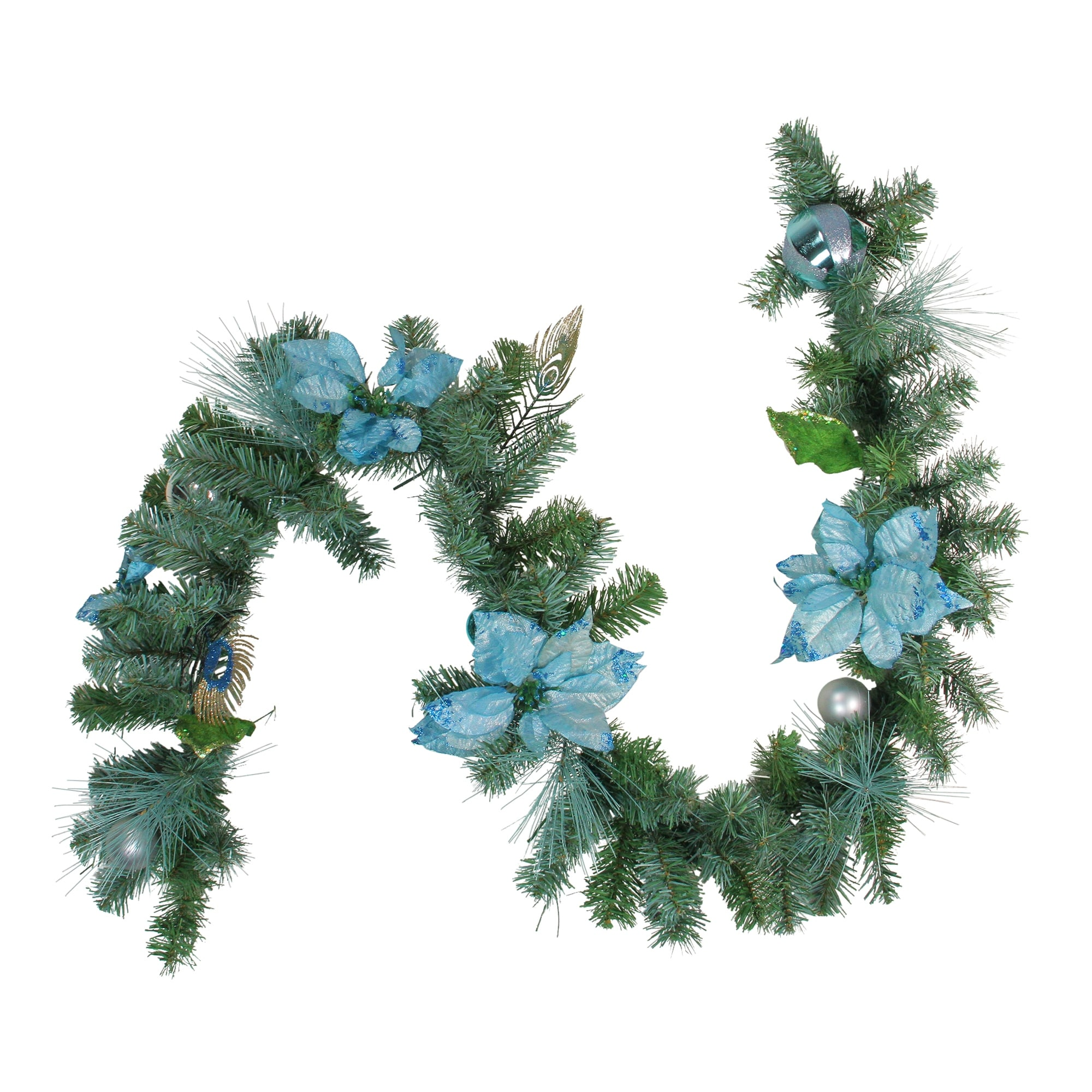 Artificial Christmas Garland.6 X 9 Blue And Silver Peacock And Poinsettia Artificial Christmas Garland Unlit N A