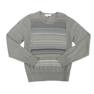 Calvin Klein NEW Gray Mens Size Large L Stripe Knit Crewneck Sweater
