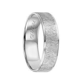 SAWYER Flat Palladium Wedding Band with Etched Finished Center & Polished Edges by ArtCarved - 6 mm