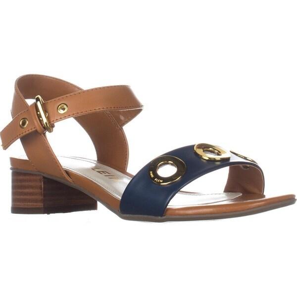 Anne Klein Ellamae Ankle Strap Sandals, Cognac/Navy