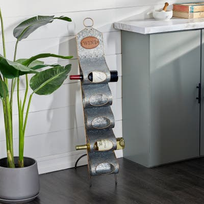 Grey Metal Contemporary Standing Wine Rack 40 x 7 x 17 - 7 x 17 x 40