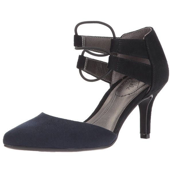 LifeStride Womens Sena Fabric Pointed Toe Ankle Strap Classic Pumps