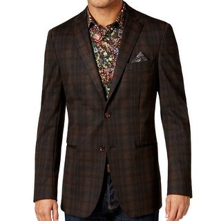 TALLIA NEW Brown Mens Size 38R Plaid-Print Two Button Sport Coat
