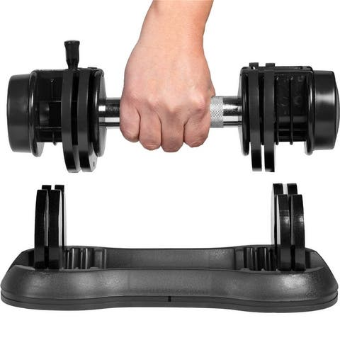 Adjustable Dumbbell 25 lbs with Fast Automatic Adjustable