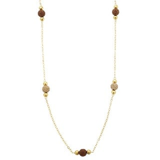 Crystaluxe Station Necklace with Swarovski Crystals in 14K Gold-Plated Sterling Silver - Honey