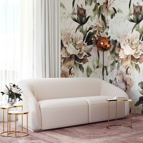 Yara Pleated Beige Velvet Sofa