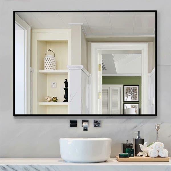 Black Large Rectangle Bathroom Wall Mounted Vanity Mirror Overstock 28986324