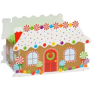 """Pack of 6, Large Gingerbread House Basket Boxes 12X6X7-5/8"""" As Great Table Centerpieces For Parties"""