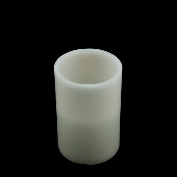 "6"" White Battery Operated Flameless LED Lighted Flickering Wax Christmas Pillar Candle"